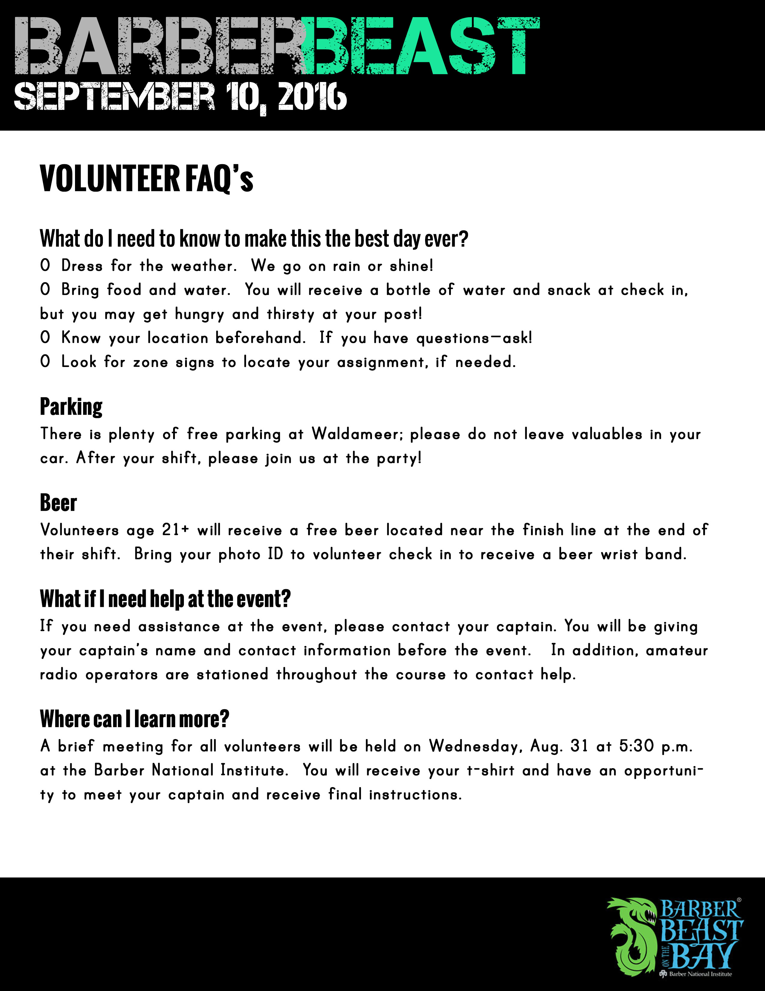 Volunteer FAQ's