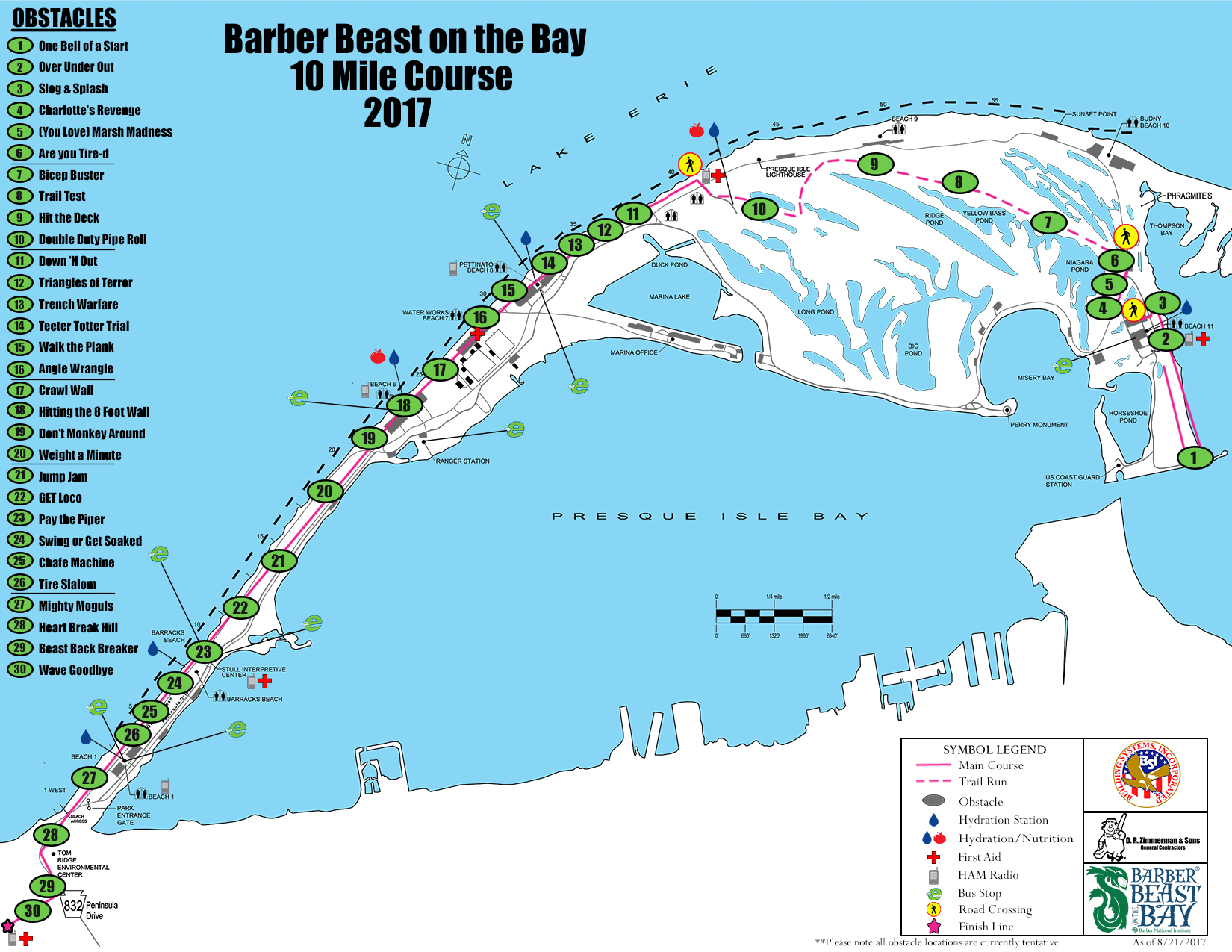 2017 Barber Beast on the Bay 10 Mile Course Map