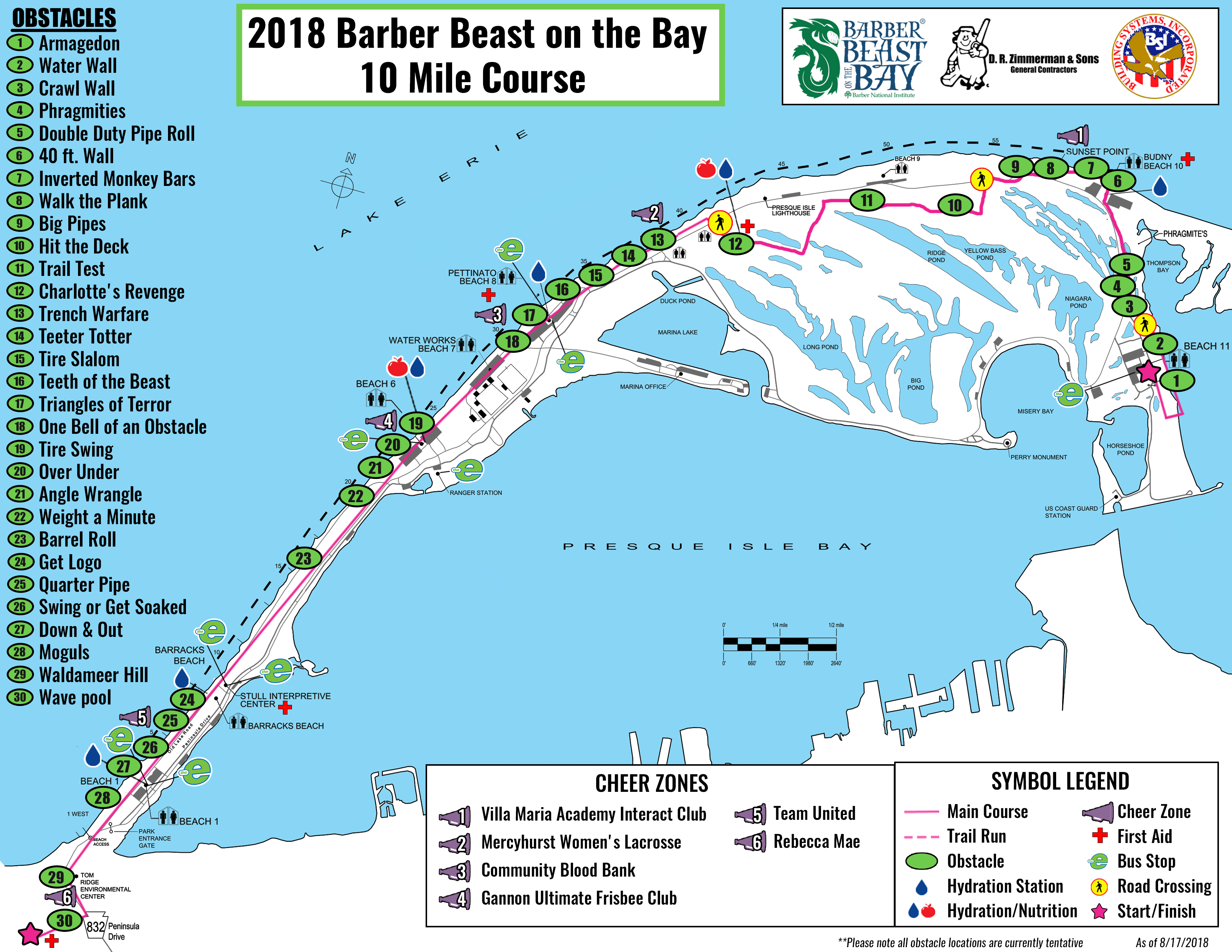 2018 Barber Beast on the Bay 10 Mile Course Map