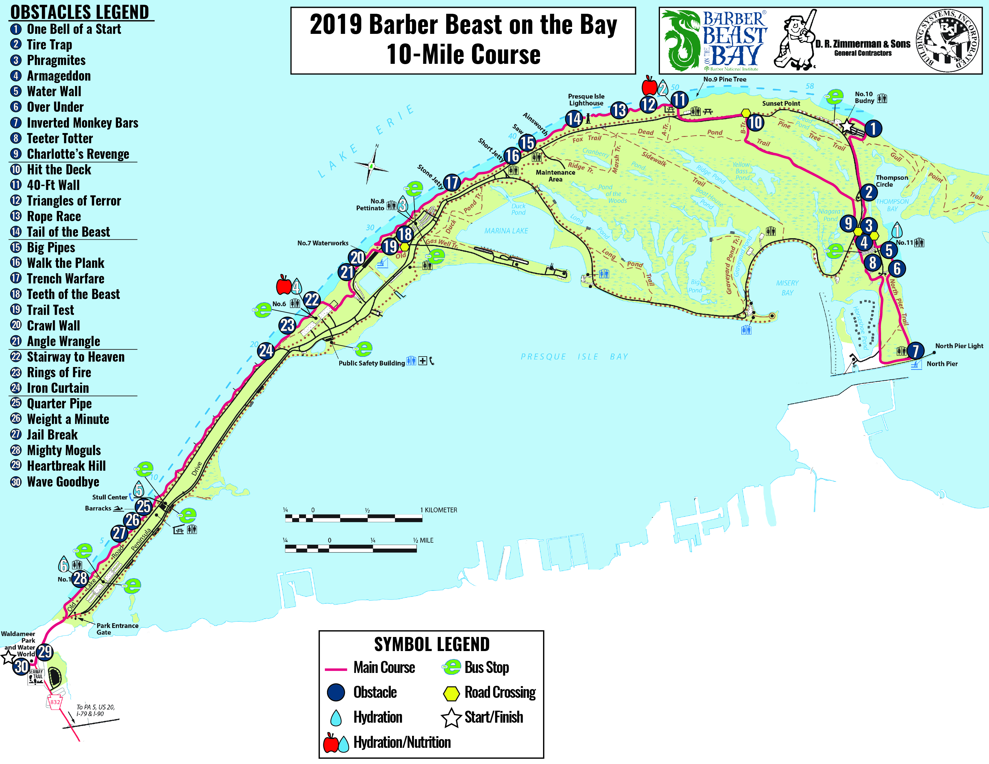 2019 Barber Beast on the Bay 10 Mile Course Map