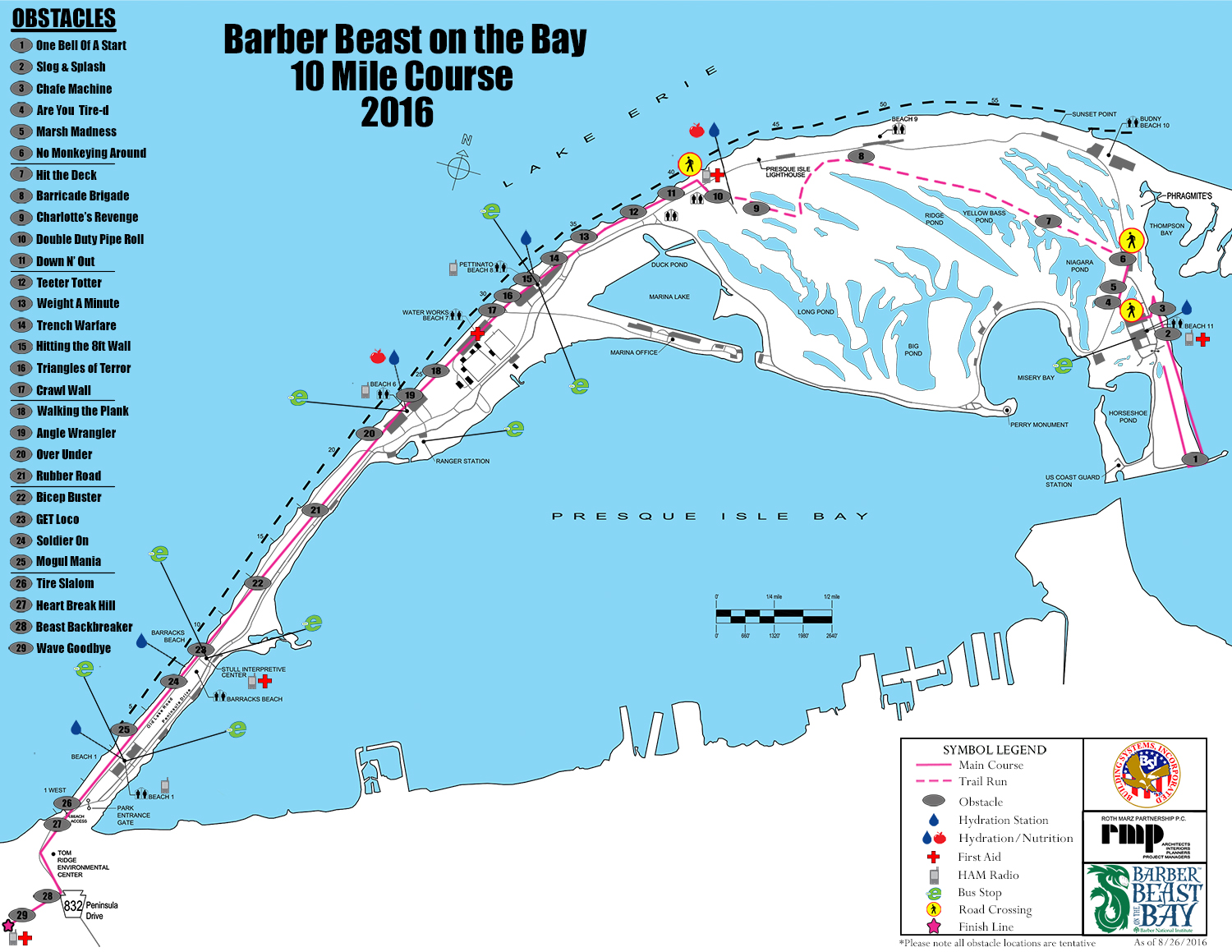 2016 Barber Beast on the Bay 10 Mile Course Map